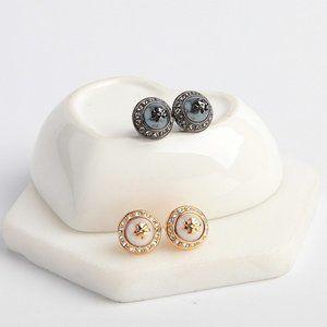 Tory Burch Pearl And Diamond Logo Earrings